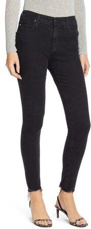 Farrah High Waist Raw Hem Skinny Jeans