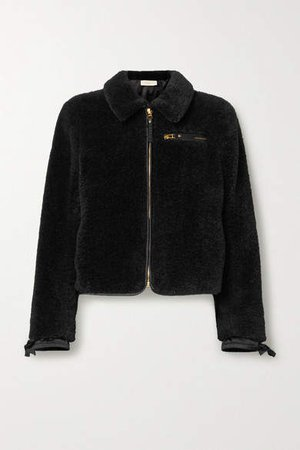 Faux Shearling Bomber Jacket - Black