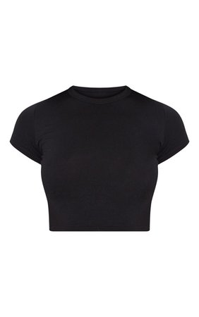 Basic Black Short Sleeve Crop Tshirt | Tops | PrettyLittleThing USA