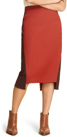 Corallo Step Hem Cotton Blend Pencil Skirt