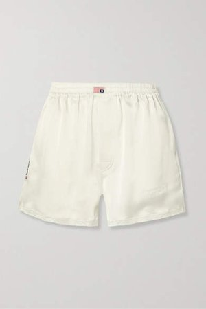 Embroidered Lace-trimmed Satin Shorts - Ivory