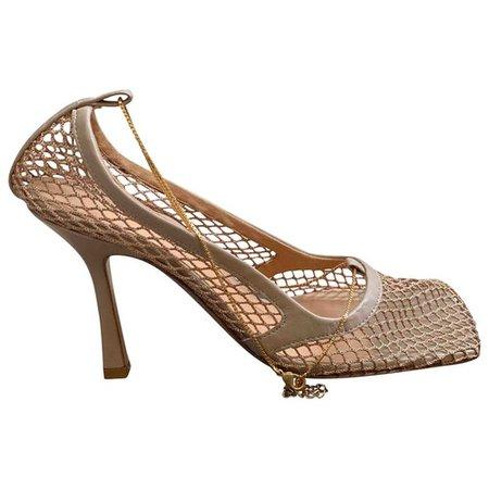 Stretch cloth heels Bottega Veneta Beige size 38.5 EU in Cloth - 10336039