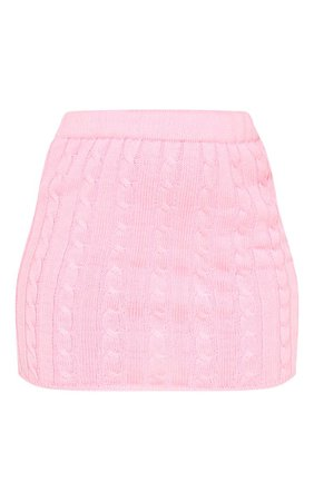 Pink Cable Knitted Skirt | Knitwear | PrettyLittleThing USA