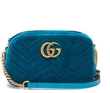 Gg Marmont Quilted Velvet Cross Body Bag - Womens - Green
