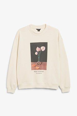 Crewneck sweater - Flower print - Sweatshirts - Monki WW