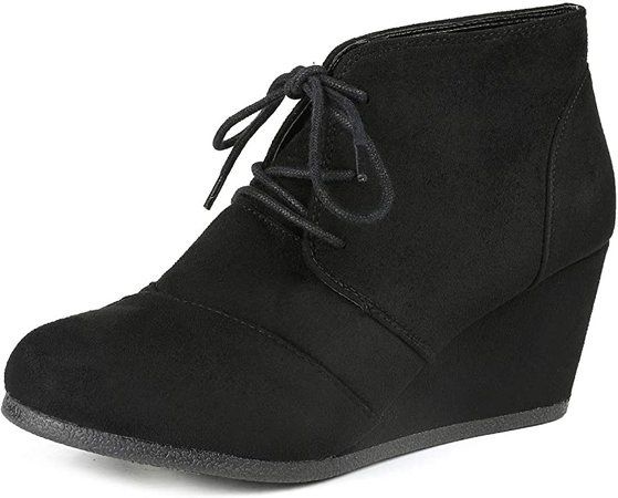 Amazon.com | DREAM PAIRS Women's Casual Fashion Lace Up Low Wedge Heel Booties Shoe | Ankle & Bootie