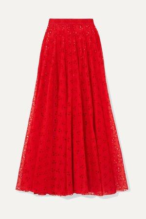 Red Broderie anglaise cotton-voile maxi skirt   Alaïa   NET-A-PORTER