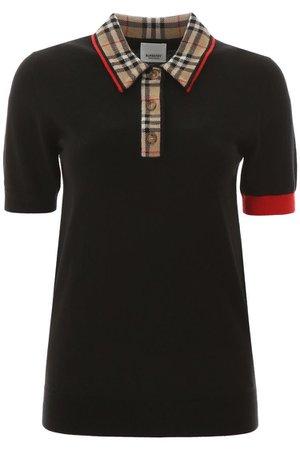 Burberry Vintage Check Trim Merino Wool Polo Shirt