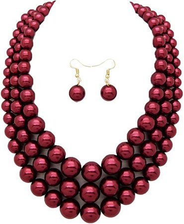 Amazon.com: Women's Simulated Faux Three Multi-Strand Pearl Statement Necklace and Earrings Set (Burgundy Wine): Jewelry