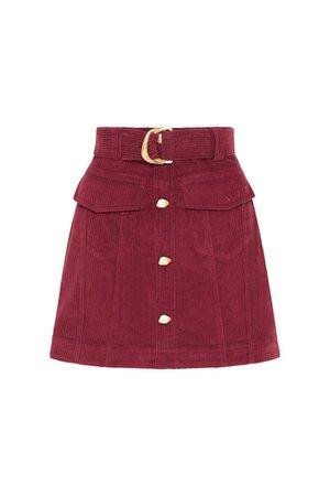 Rebellion Corduroy Mini Skirt in Burgundy – Aje