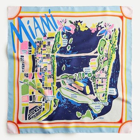 J.Crew: Square Silk Scarf In Miami Map Print For Women
