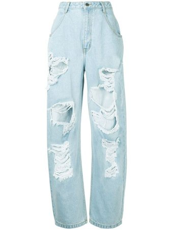 stone pony high waist distressed baggy jeans