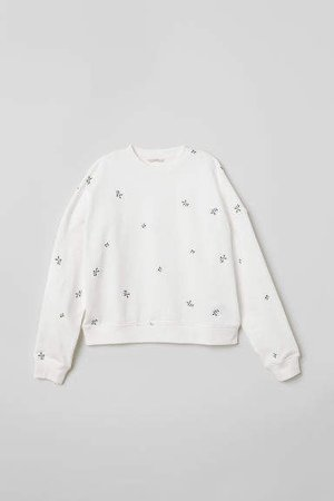 Embroidered Sweatshirt - White