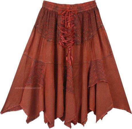 Dark Amber Handkerchief Hem Mid Length Cowgirl Skirt | Bronze | Patchwork, Stonewash, Junior-Petite, Misses, High-Low, Handkerchief, Solid,Western-Skirts