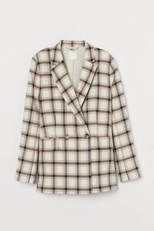 Double-breasted Blazer - Beige/plaid - Ladies   H&M US