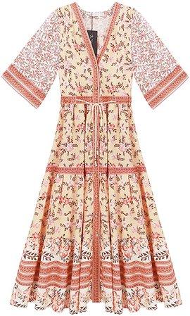 R.Vivimos Women's Summer Cotton Printed Half Sleeve V Neck Flowy Midi Dress (XS, Orange) at Amazon Women's Clothing store