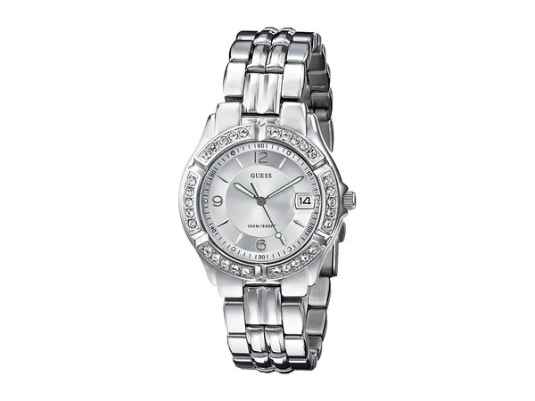 GUESS - G75511M Stainless Steel Bracelet Watch (Silver Bracelet/Silver Case With Crystals/Silver Dial) Watches