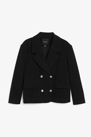 Double-breasted boxy blazer - Black - Blazers - Monki WW