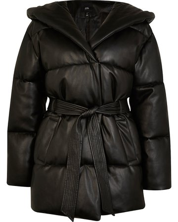 Black faux leather padded puffer coat | River Island