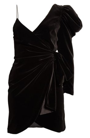 Alice + Olivia Mila One-Shoulder Velvet Minidress | Nordstrom