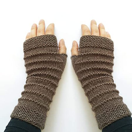 Amazon.com: Womens knit fingerless gloves - Brown arm warmers Fingerless mittens Christmas gifts for women: Handmade