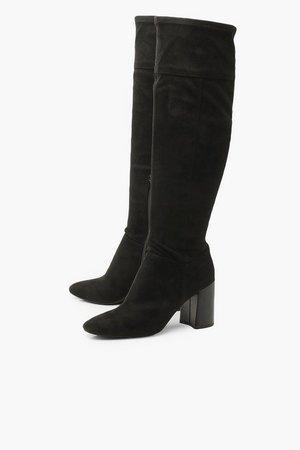 Block Heel Pointed Toe Over The Knee Boots | Boohoo