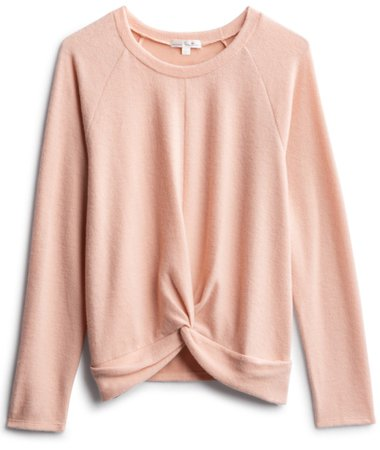 blush knot front sweater
