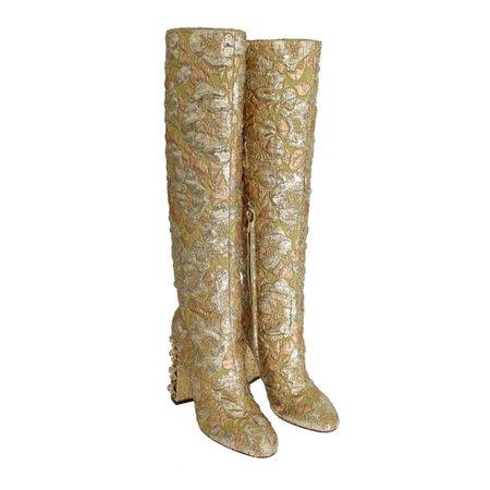 Dolce & Gabbana Gold Jacquard Crystal Floral Boots