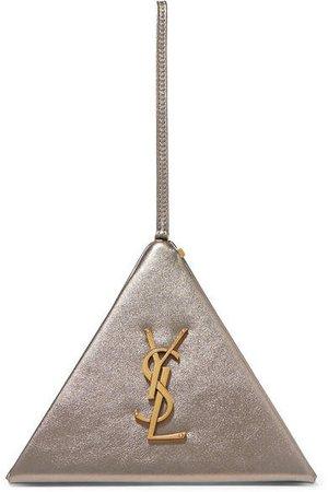 Pyramid Metallic Leather Clutch - Gold