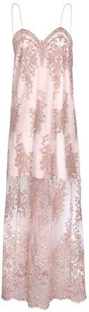 JIRI KALFAR - Dusty Pink Embroidered Slip Dress