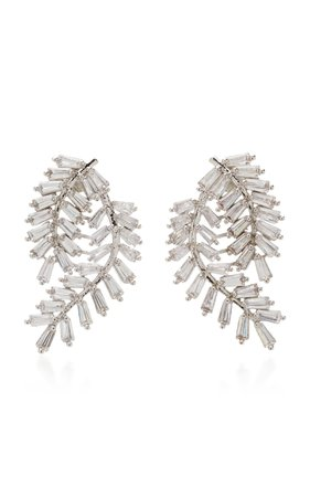 Fern Silver-Tone Crystal Earrings by FALLON | Moda Operandi