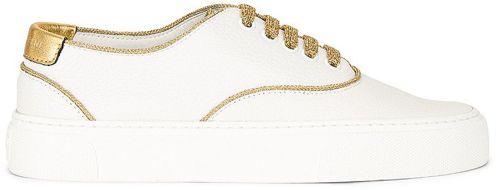 Lace Up Sneakers in White & Gold | FWRD