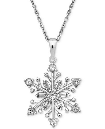 """Macy's Cubic Zirconia 18"""" Snowflake Pendant Necklace in Sterling Silver & Reviews - Necklaces - Jewelry & Watches - Macy's"""