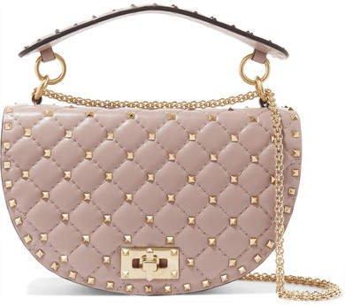 Garavani The Rockstud Spike Leather Shoulder Bag - Pink