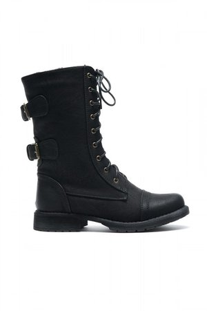 $39.99 Women's Black Florence 2 Military Lace up, Double Buckled, Middle Calf Combat Boots