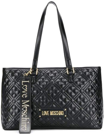 quilted logo plaque tote bag