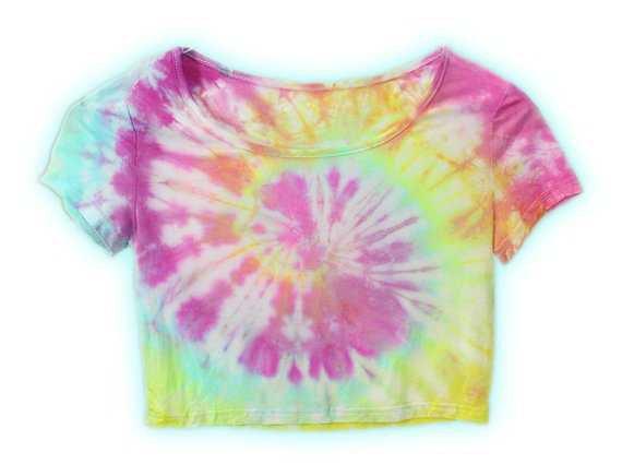 Pastel Rainbow Spiral Swirl Tie Dye Flexible Crop Top One Size
