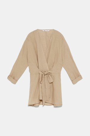 BELTED LINEN BLOUSE - View All-SHIRTS | BLOUSES-WOMAN | ZARA United States