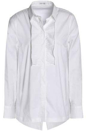 Ruffle-trimmed Cotton-blend Poplin Shirt