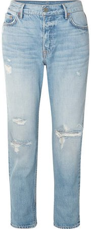 Olivia Distressed Slim Boyfriend Jeans - Mid denim