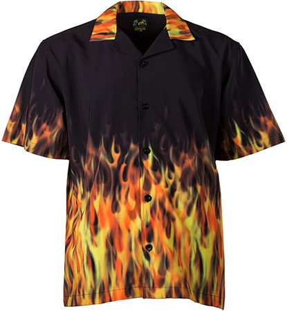 Benny's Red Flames Bowling Shirt at Amazon Men's Clothing store