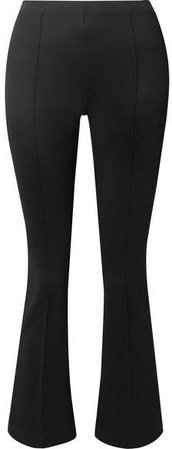 Cropped Stretch-jersey Flared Pants - Black