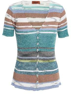 Striped Ribbed Linen-blend Top