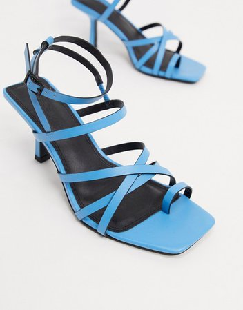 ASOS DESIGN Wide Fit Whittle toe loop mid-heeled sandals in blue | ASOS
