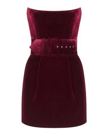 Rasario Belted Velvet Mini Dress in Red