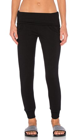 Beyond Yoga Cozy Fleece Foldover Sweatpant in Black | REVOLVE
