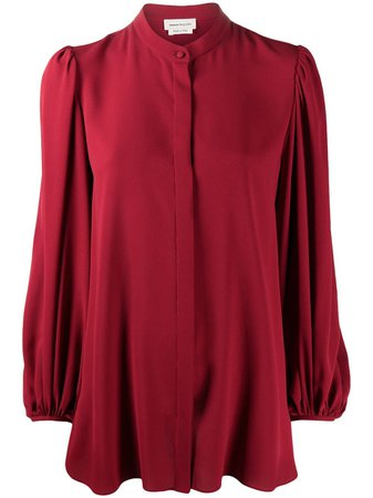 Alexander McQueen Collarless draped-sleeve Blouse - Farfetch