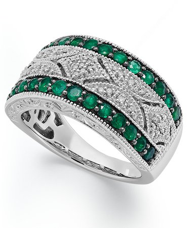 Macy's Sterling Silver Emerald and Diamond Antique Band