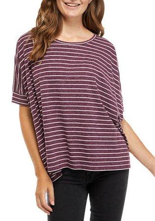 Sharagano  Women's Elbow Sleeve Striped T-Shirt