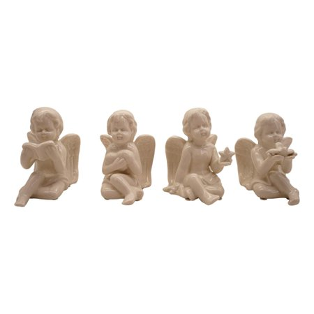 Treasure Co Trio Cherub Angel Figurines (Set of 4, 4 in Tall, White) Star, Book, Heart Bird, Wings, Baby, Floral, Home Decor - Walmart.com - Walmart.com